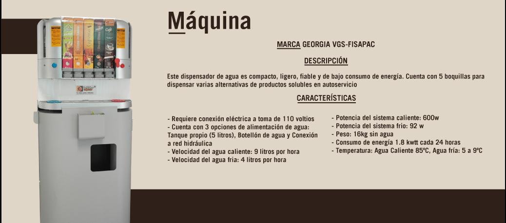 Maquina Dispensadora de Bebidas Georgia VGS-Fisapac